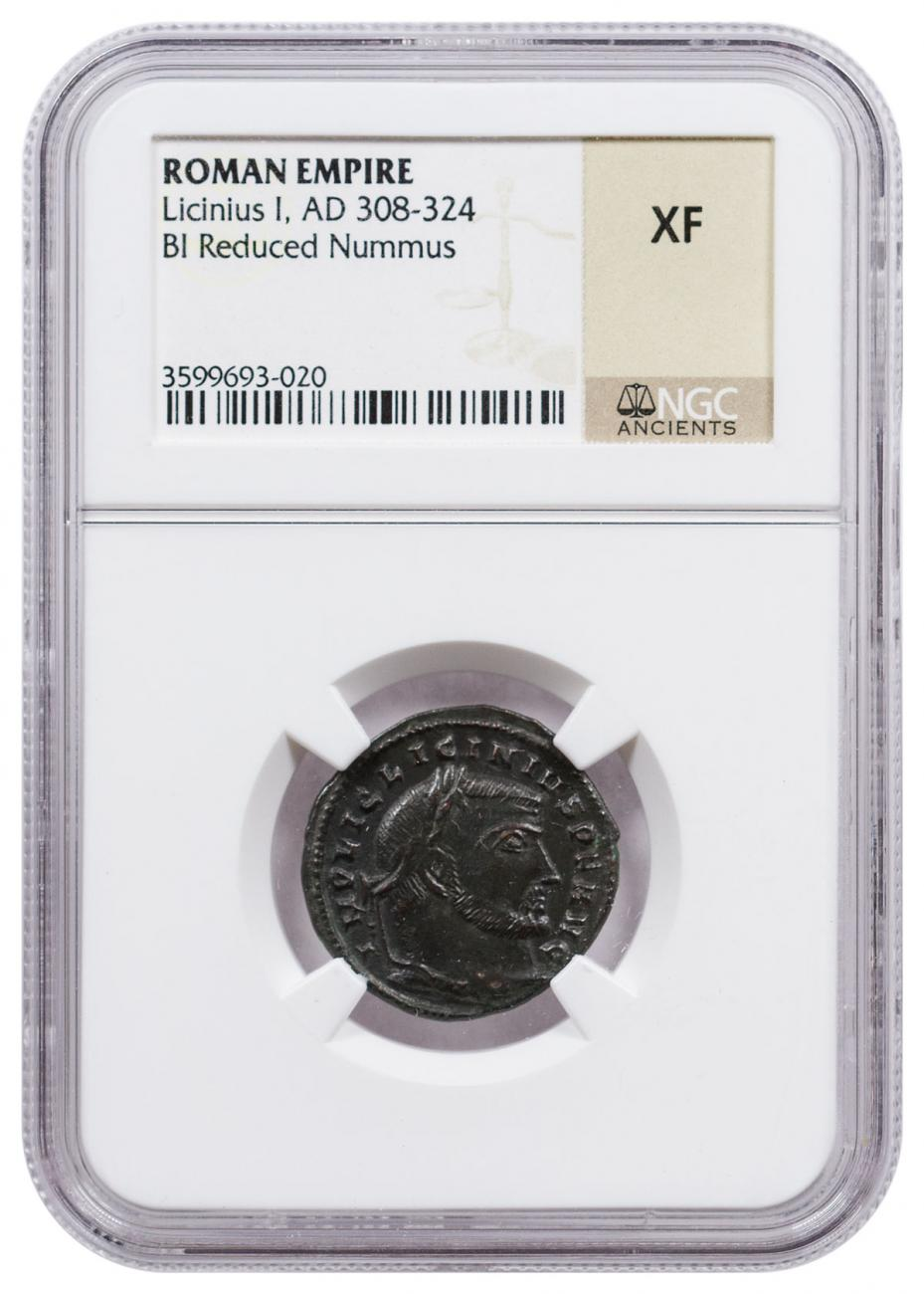 Roman Empire, Billon Reduced Nummus of Licinius (AD 308-324) NGC XF