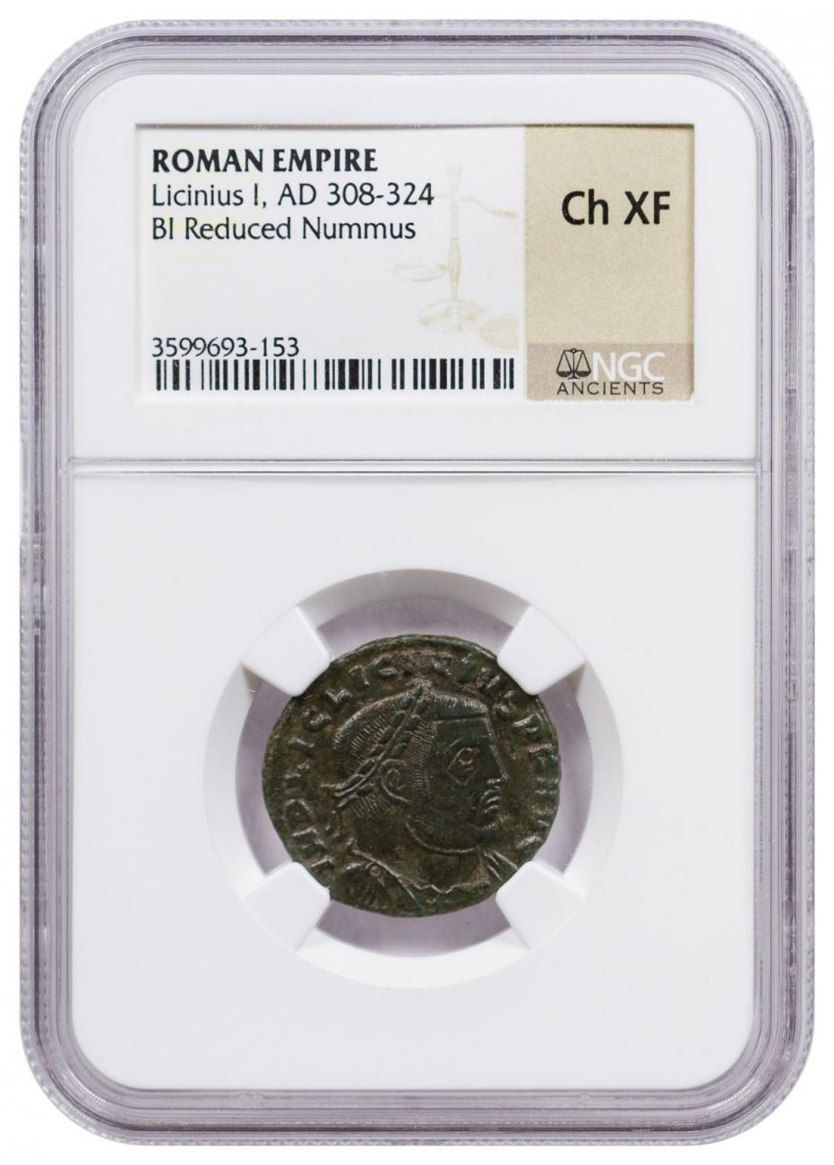 Roman Empire, Billon Reduced Nummus of Licinius (AD 308-324) NGC Ch. XF