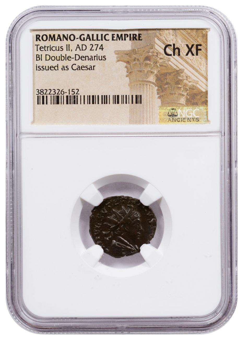 Romano-Gallic Empire, Billon Double Denarius of Tetricus II (AD 274) As Caesar NGC Ch. XF