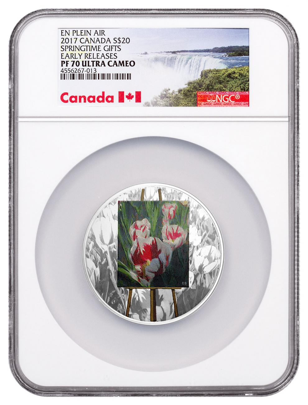 2017 Canada En Plein Air - Springtime Gifts 1 oz. Silver Colorized Proof $20 NGC PF70 UC ER (Exclusive Canada Label)