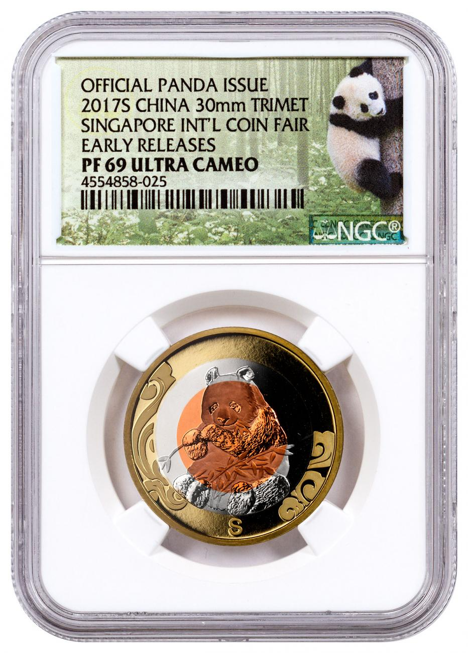 2017-S China Singapore International Coin Fair Tri-Metal Panda Brass + Cupronickel + Copper Proof Medal NGC PF69 UC ER Exclusive Panda Label