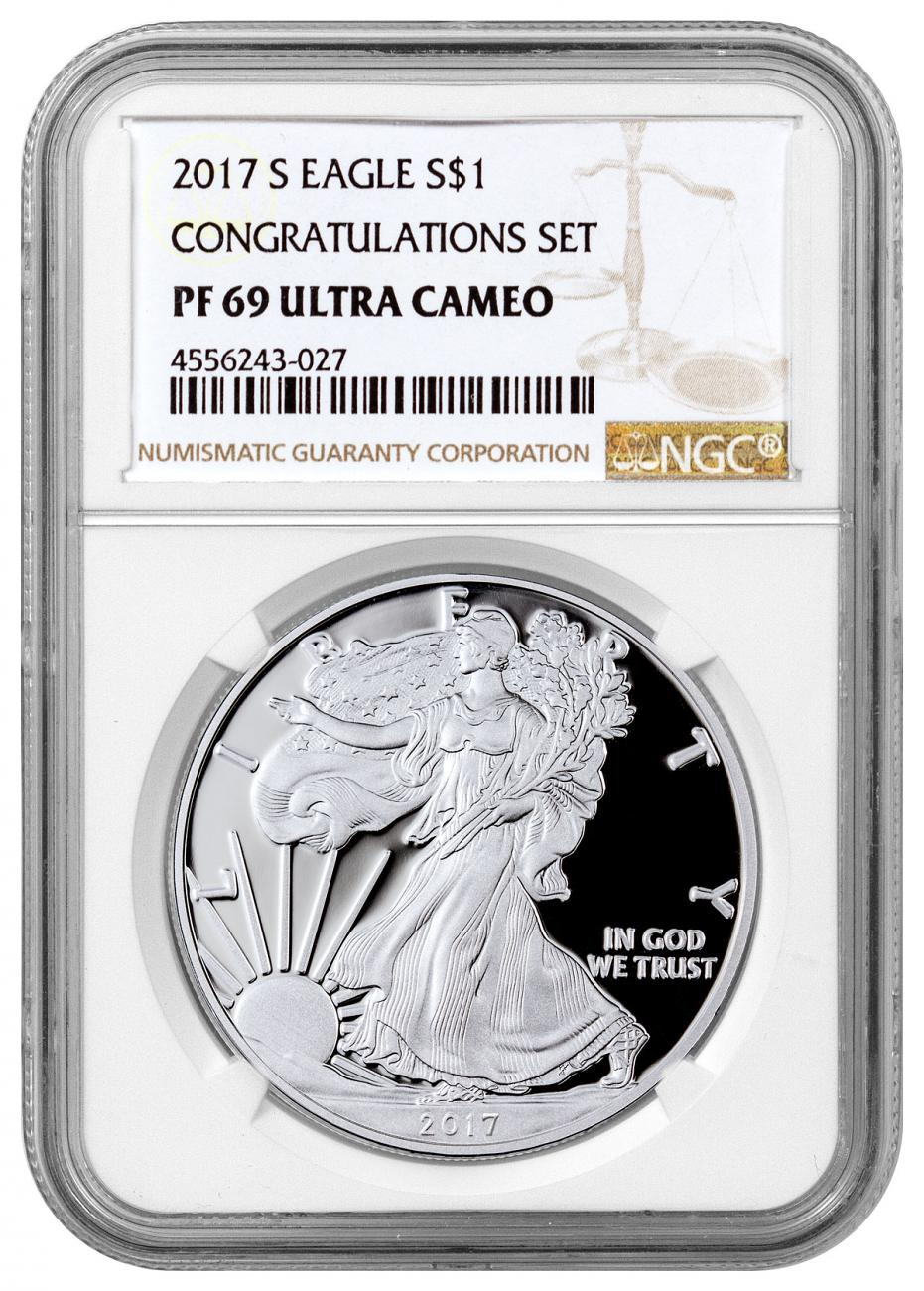 2017 S Proof Silver Eagle Congratulations Set Ngc Pf69