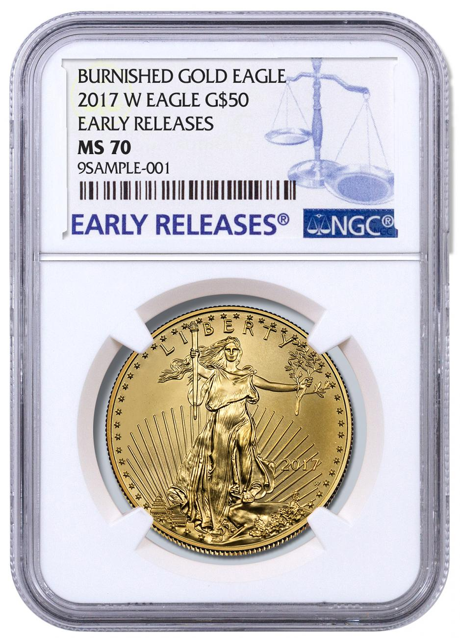 2017 W 1 Oz Burnished Gold American Eagle 50 Ngc Ms70