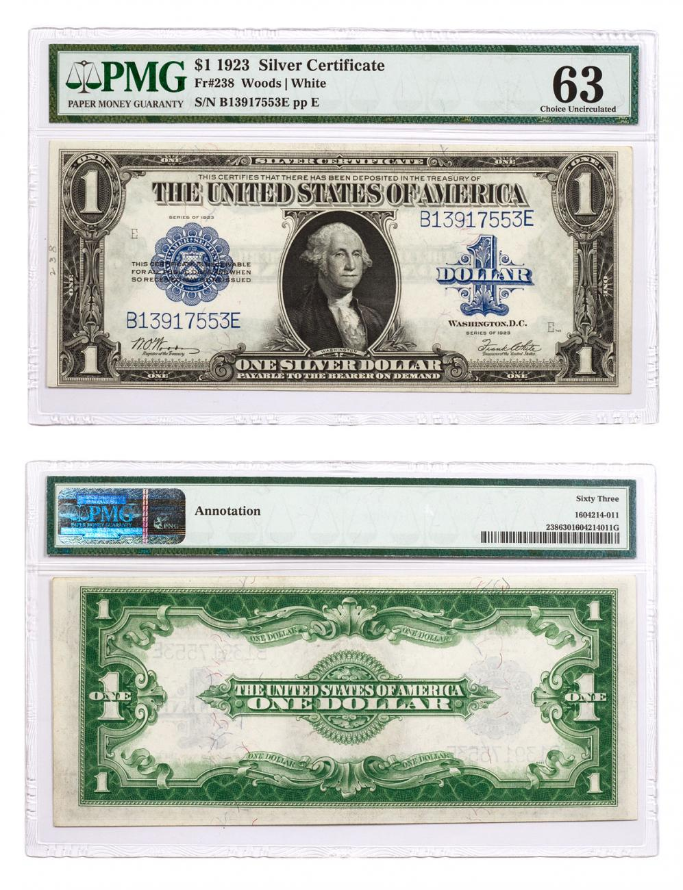 1923 $1 Silver Certificates Change Over Pair FR-237 And FR
