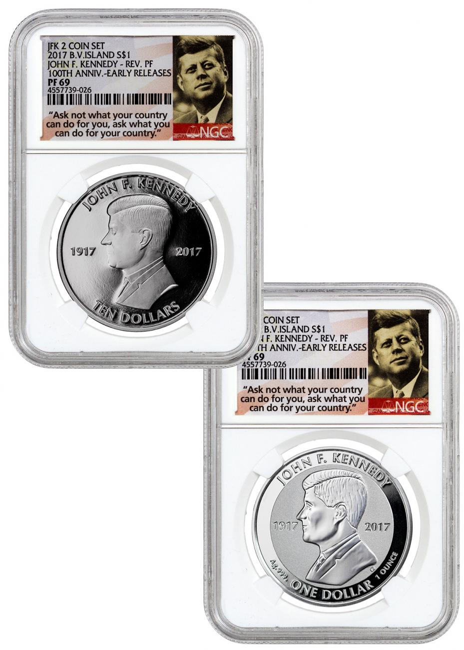 2-Coin Set - 2017 British Virgin Islands John F. Kennedy - 1 oz Silver Proof + Reverse Proof $1 Coins NGC PF69 ER Ask Not Label