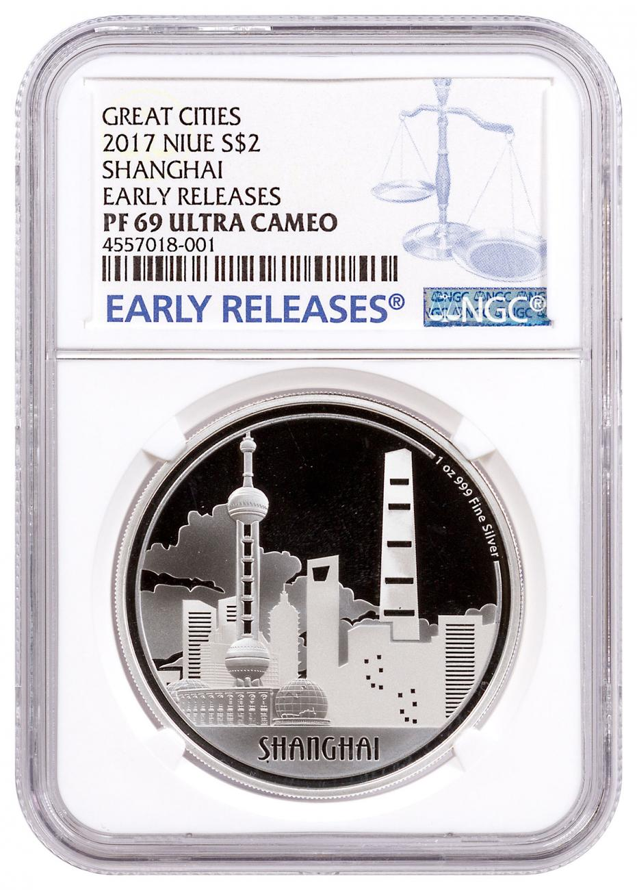 2017 Niue Great Cities - Shanghai 1 oz Silver Proof $2 Coin NGC PF69 UC ER