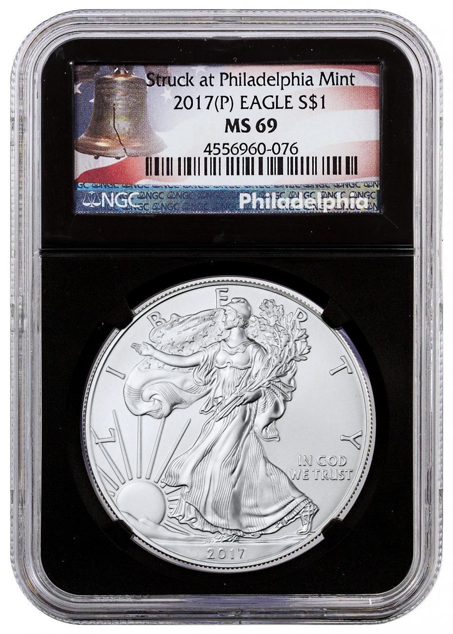 2017-(P) Silver Eagle Struck at Philadelphia NGC MS69 Black Core Holder Liberty Bell Label