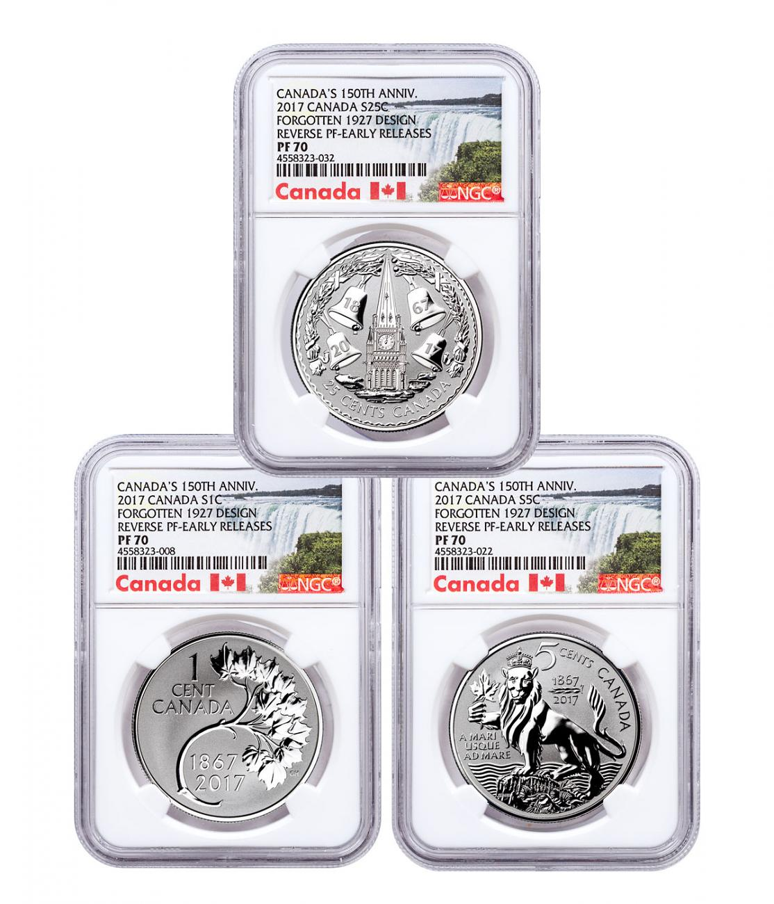 2017 Canada Coin Lore - The Forgotten 1927 Designs 3-Coin Set 1 oz Silver Reverse Proof Coin NGC PF70 ER Exclusive Canada Label
