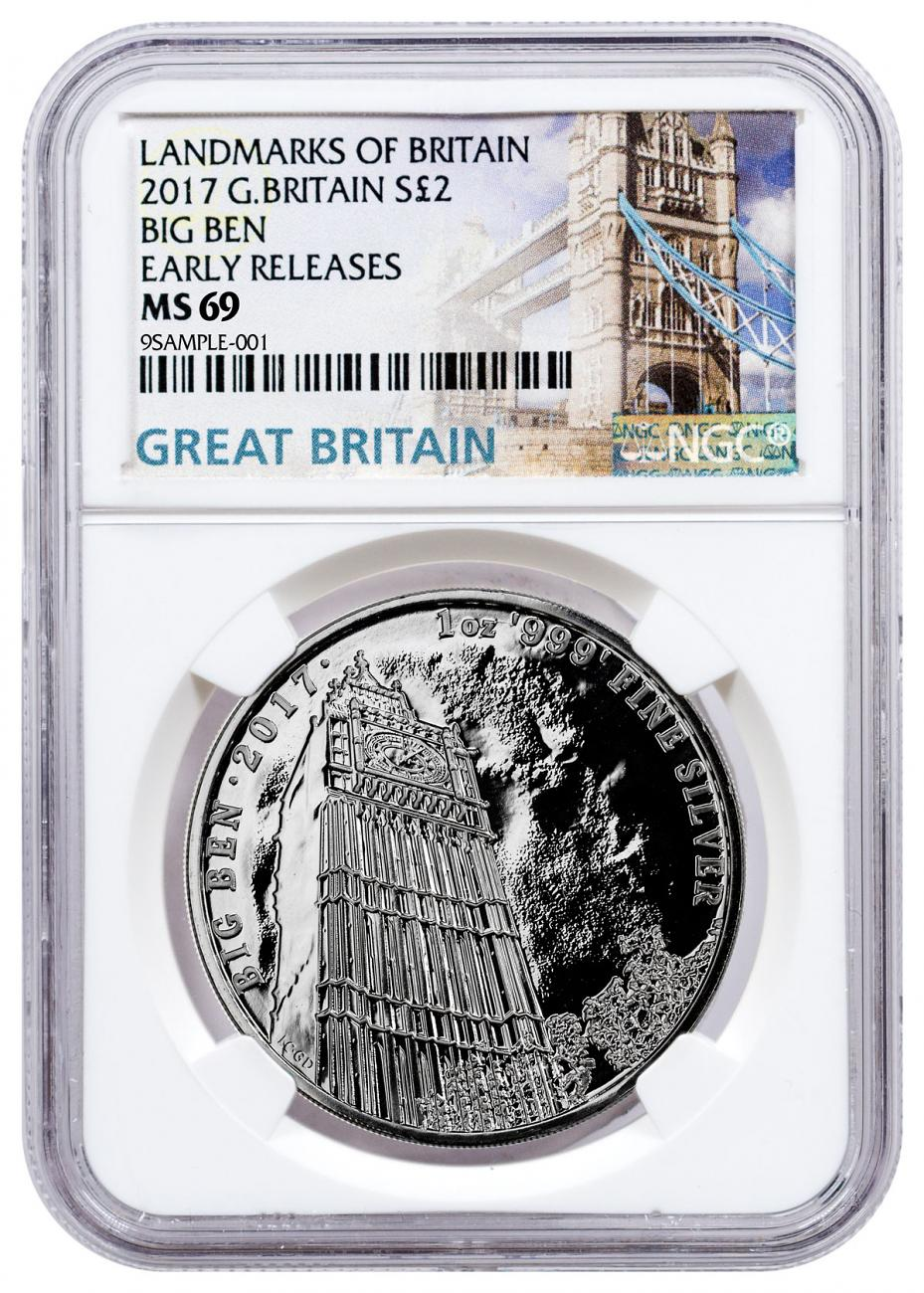 2017 Great Britain Landmarks of Britain - Big Ben 1 oz Silver £2 Coin NGC MS69 ER Exclusive Tower Bridge Label