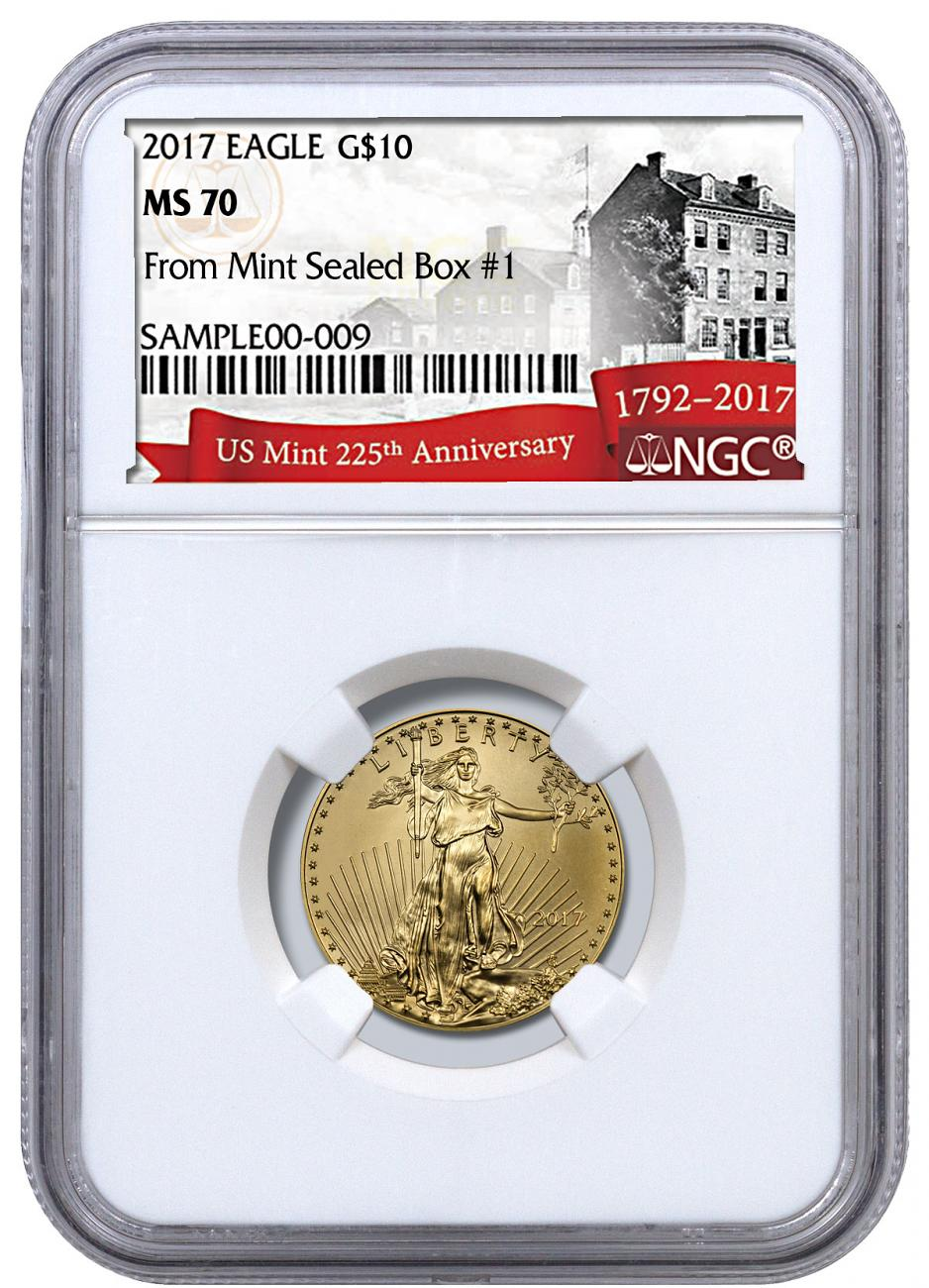 2017 1/4 oz Gold American Eagle $10 - From Monster Box #1 NGC MS70 (Exclusive U.S. Mint 225th Anniversary Label)