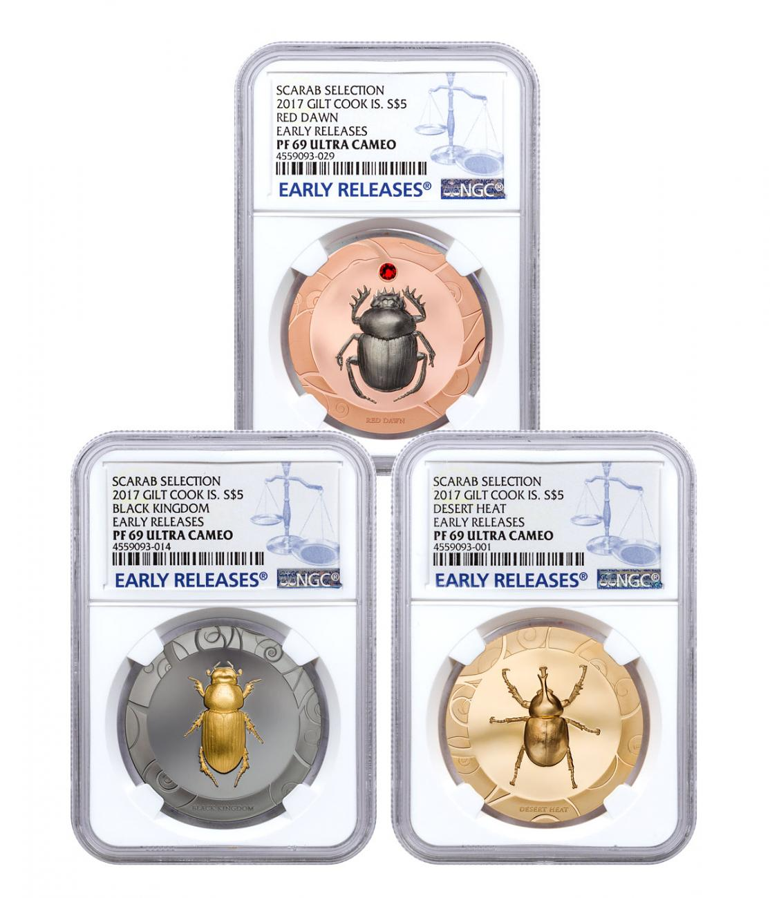 2017 Cook Islands Scarab Beetle Selection 3-Coin Set I High Relief 1 oz Silver Gilt Proof $5 Coin NGC PF69 UC ER