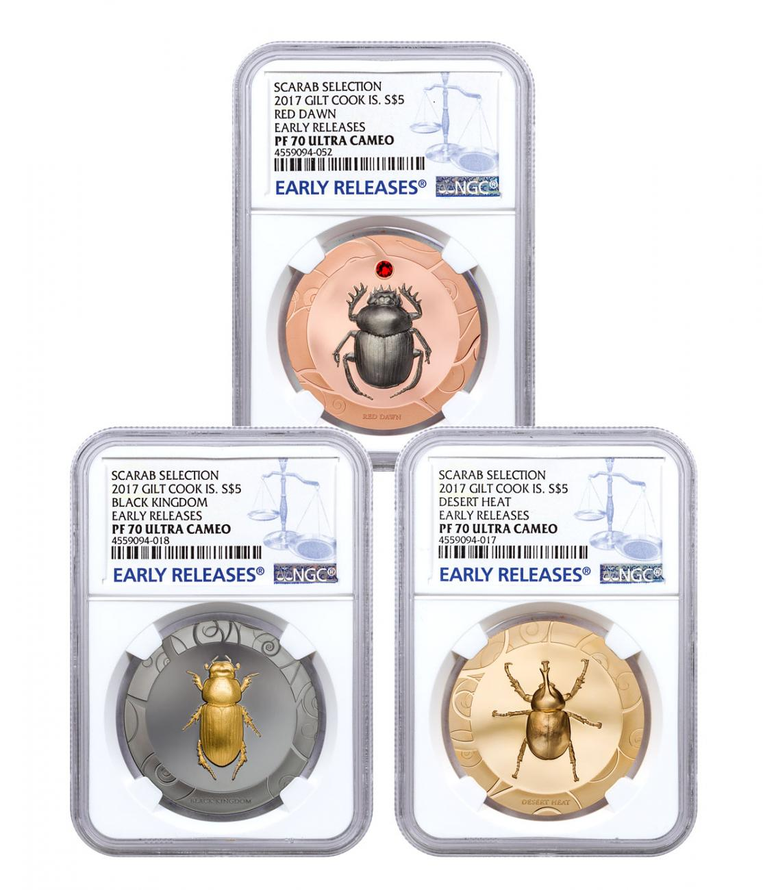 2017 Cook Islands Scarab Beetle Selection 3-Coin Set I High Relief 1 oz Silver Gilt Proof $5 Coin NGC PF70 UC ER
