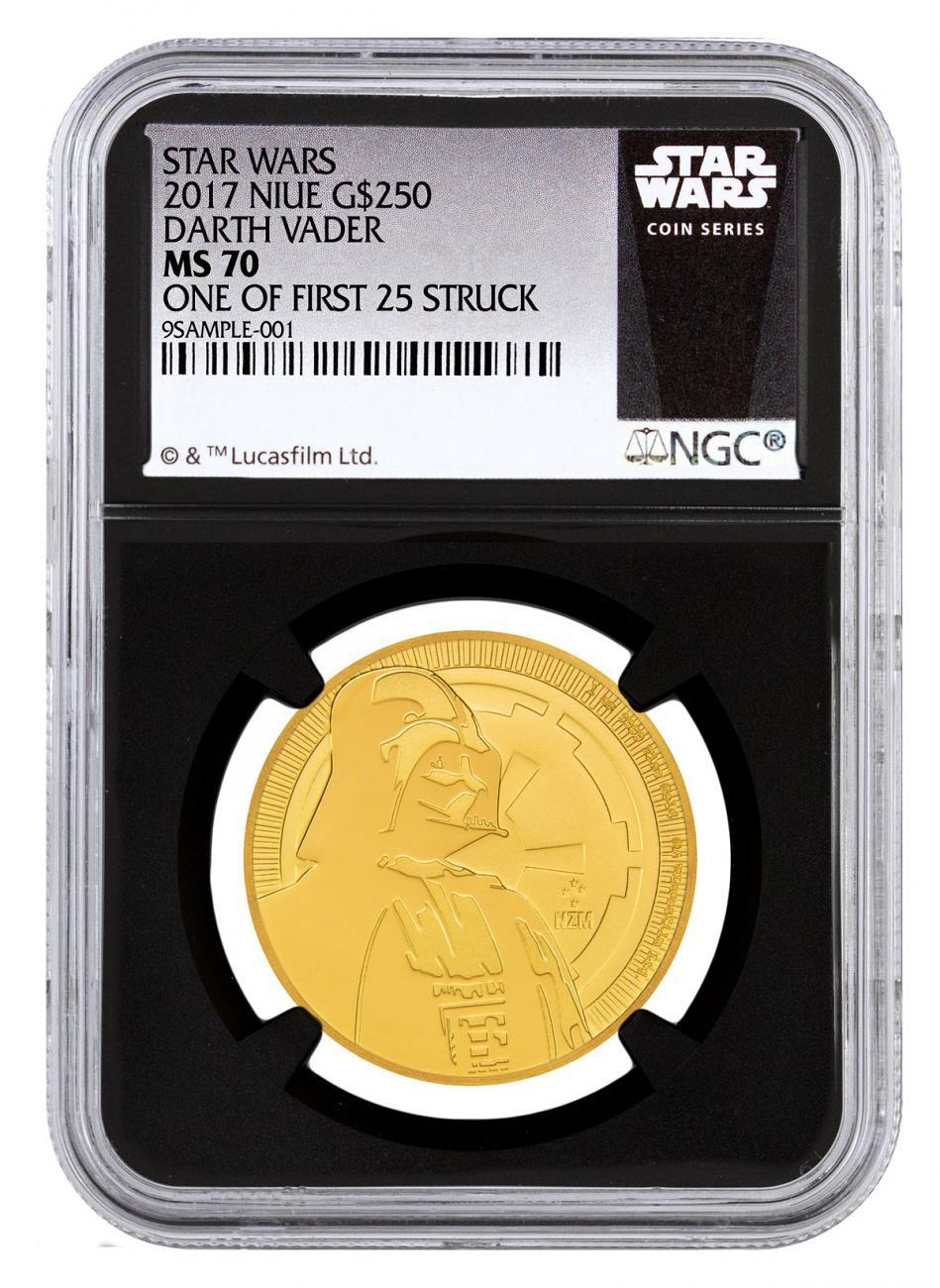2017 Niue Star Wars Classic - Darth Vader 1 oz Gold $250 Coin NGC MS70 One of First 25 Struck Black Core Holder Exclusive Star Wars Label