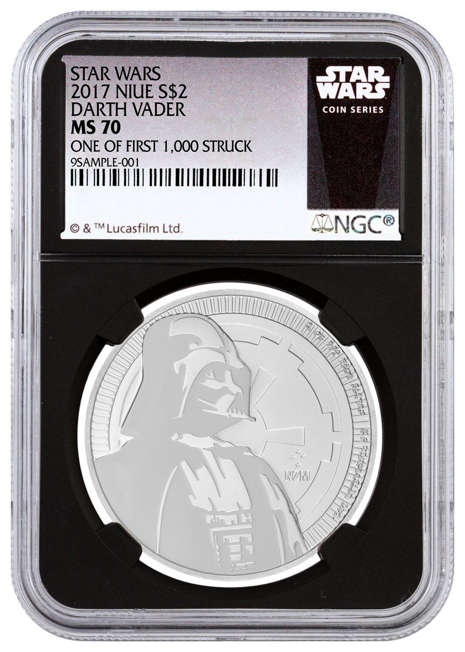 2017 Niue Star Wars Classic - Darth Vader 1 oz Silver $2 Coin NGC MS70 One of First 1,000 Struck Black Core Holder Exclusive Star Wars Label
