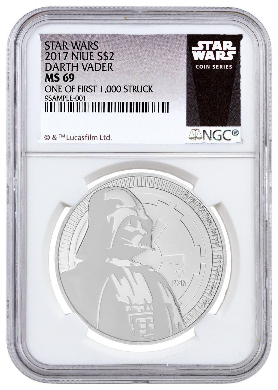 2017 Niue Star Wars Classic - Darth Vader 1 oz Silver $2 Coin NGC MS69 One of First 1,000 Struck Exclusive Star Wars Label