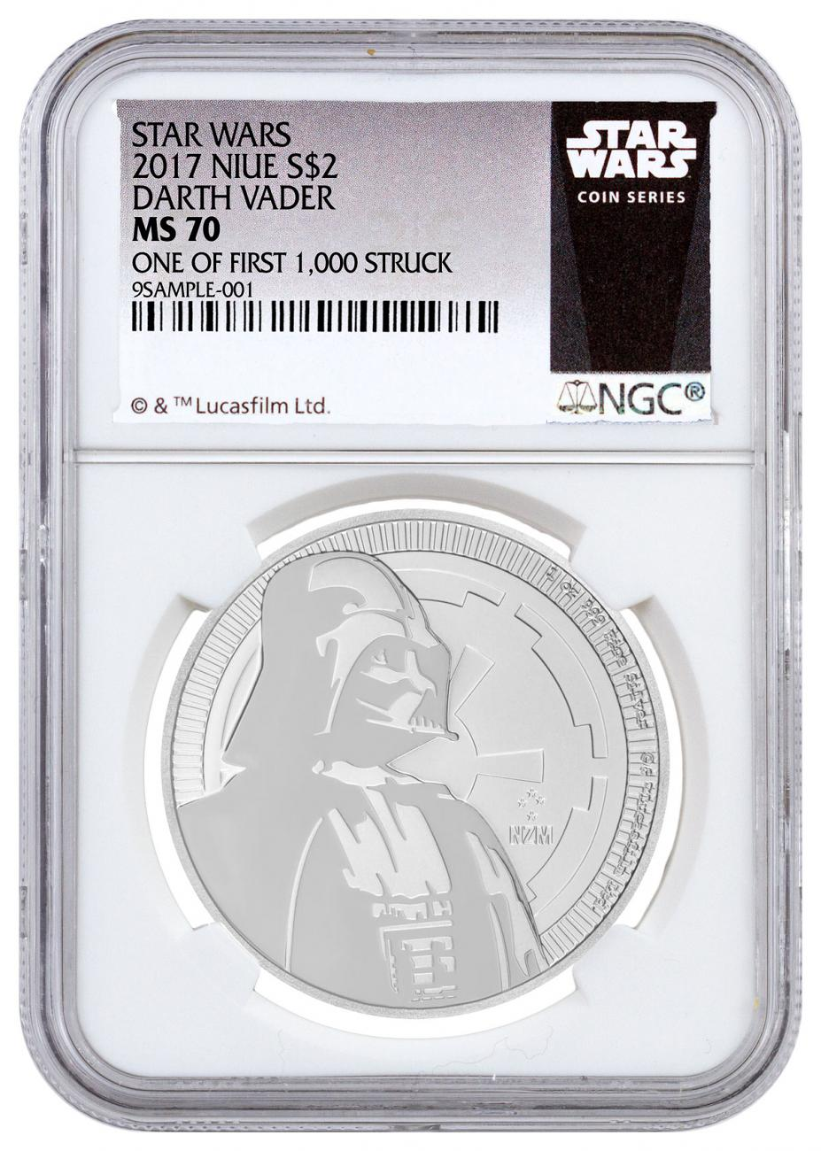 2017 Niue Star Wars Classic - Darth Vader 1 oz Silver $2 Coin NGC MS70 One of First 1,000 Struck Exclusive Star Wars Label