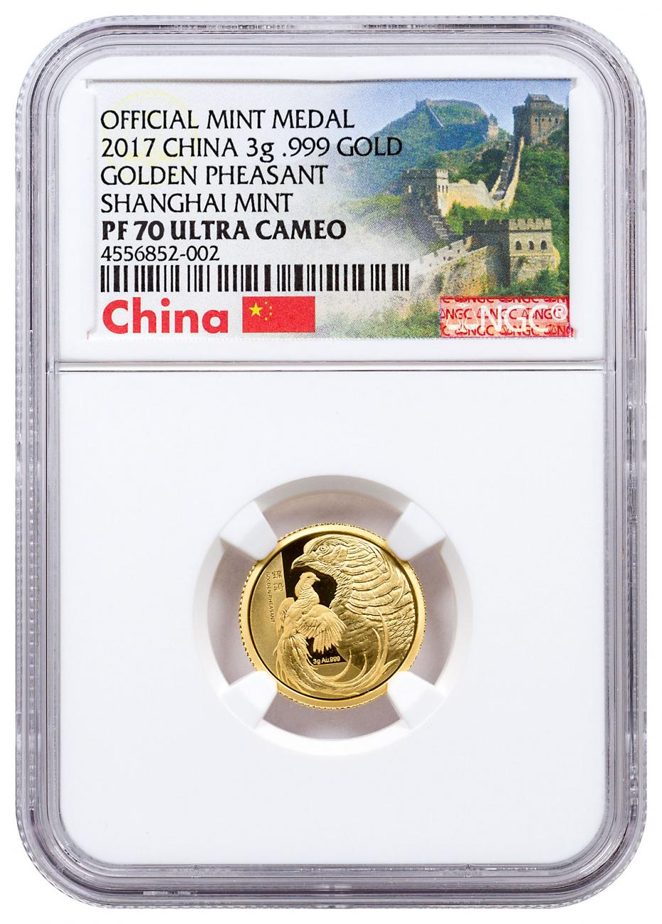 2017 China Golden Pheasant - 3 g Gold Proof NGC PF70 UC Exclusive Great Wall Label
