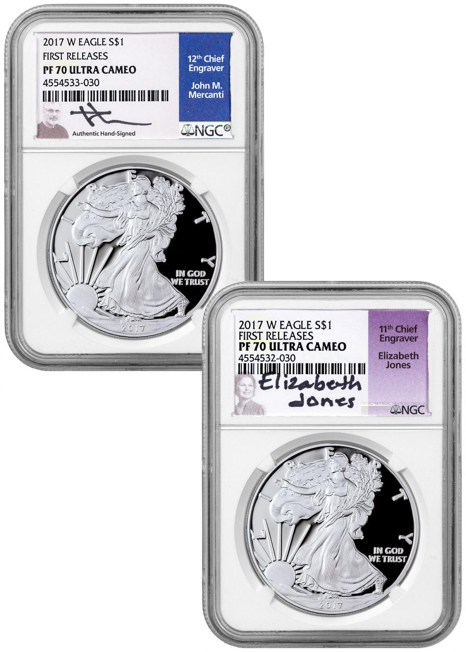 Set of 2 - 2017-W Proof American Silver Eagle NGC PF70 UC FR Jones and Blue Mercanti Signed Labels