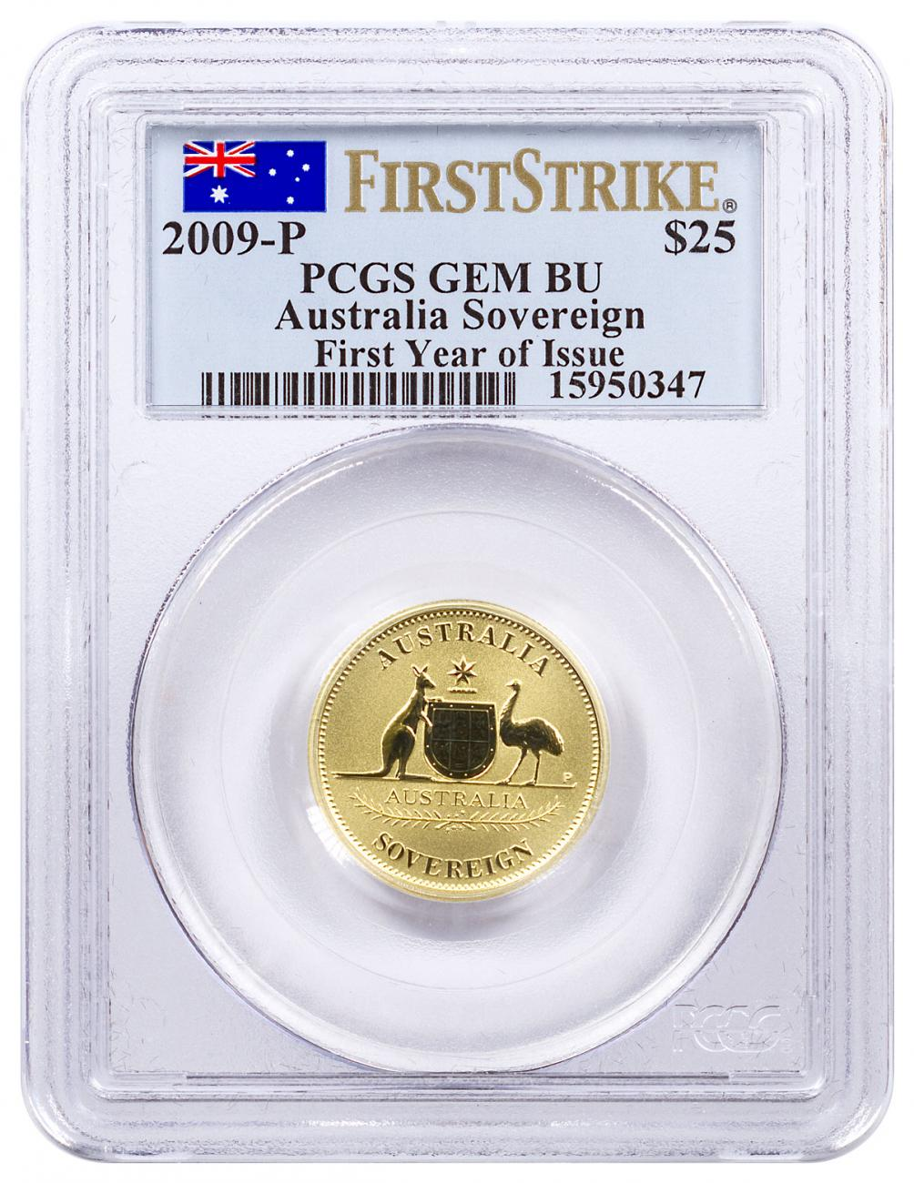 2009-P Australia Gold Sovereign $25 PCGS GEM BU FS Flag Label