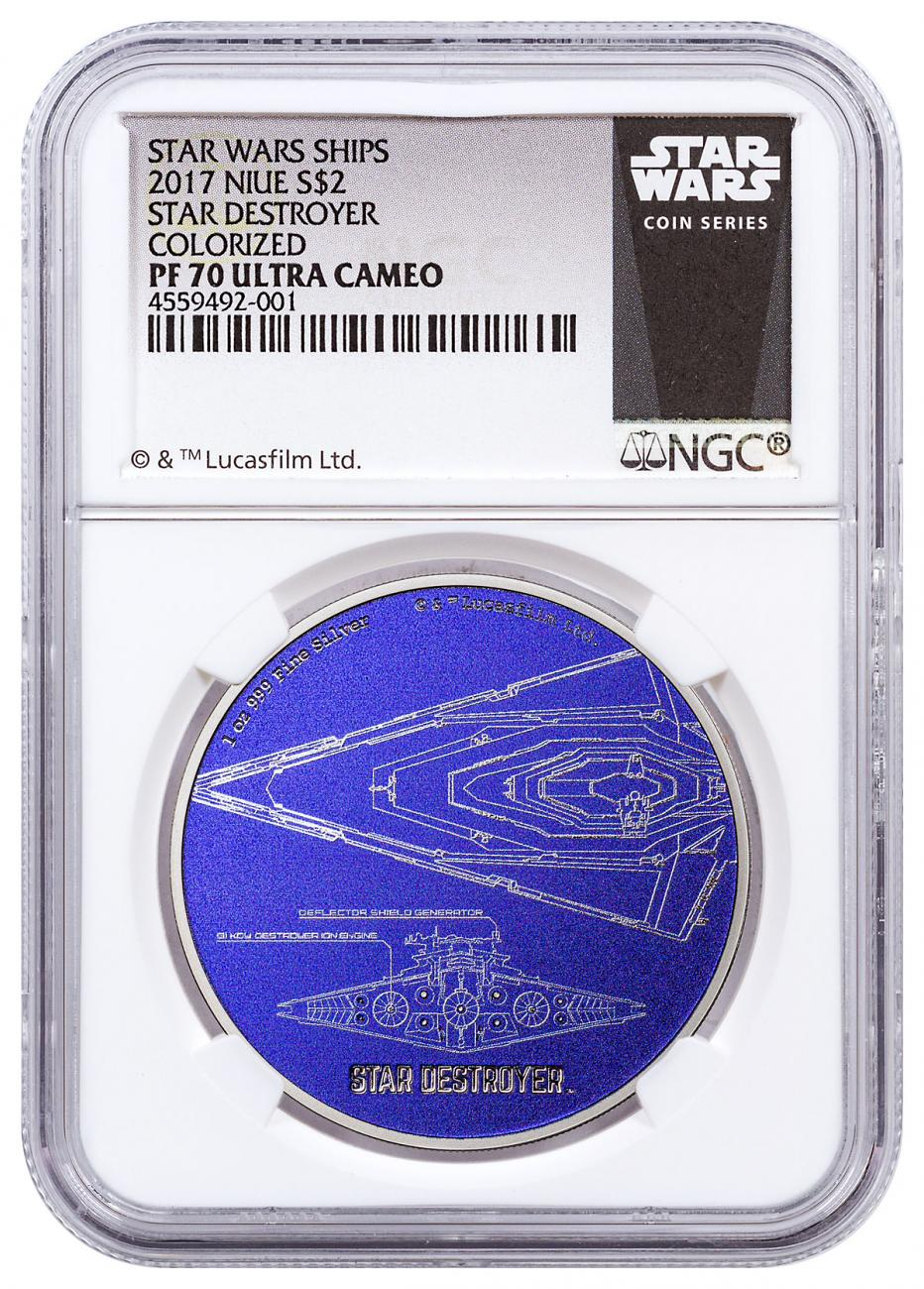 2017 Niue Star Wars Ships - Star Destroyer 1 oz Silver Colorized Proof $2 Coin NGC PF70 UC Exclusive Star Wars Label