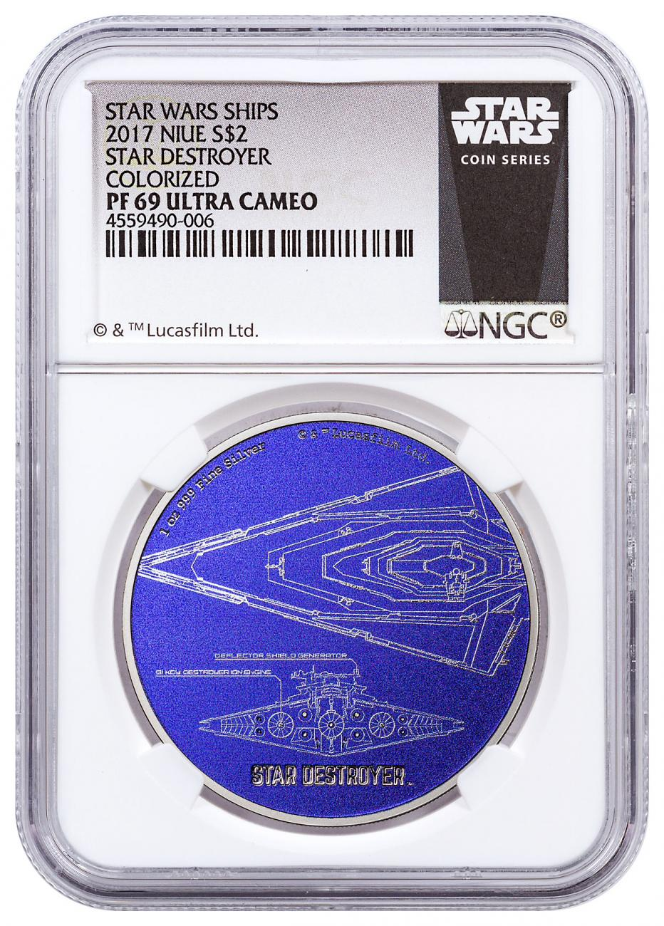 2017 Niue Star Wars Ships - Star Destroyer 1 oz Silver Colorized Proof $2 Coin NGC PF69 UC Exclusive Star Wars Label