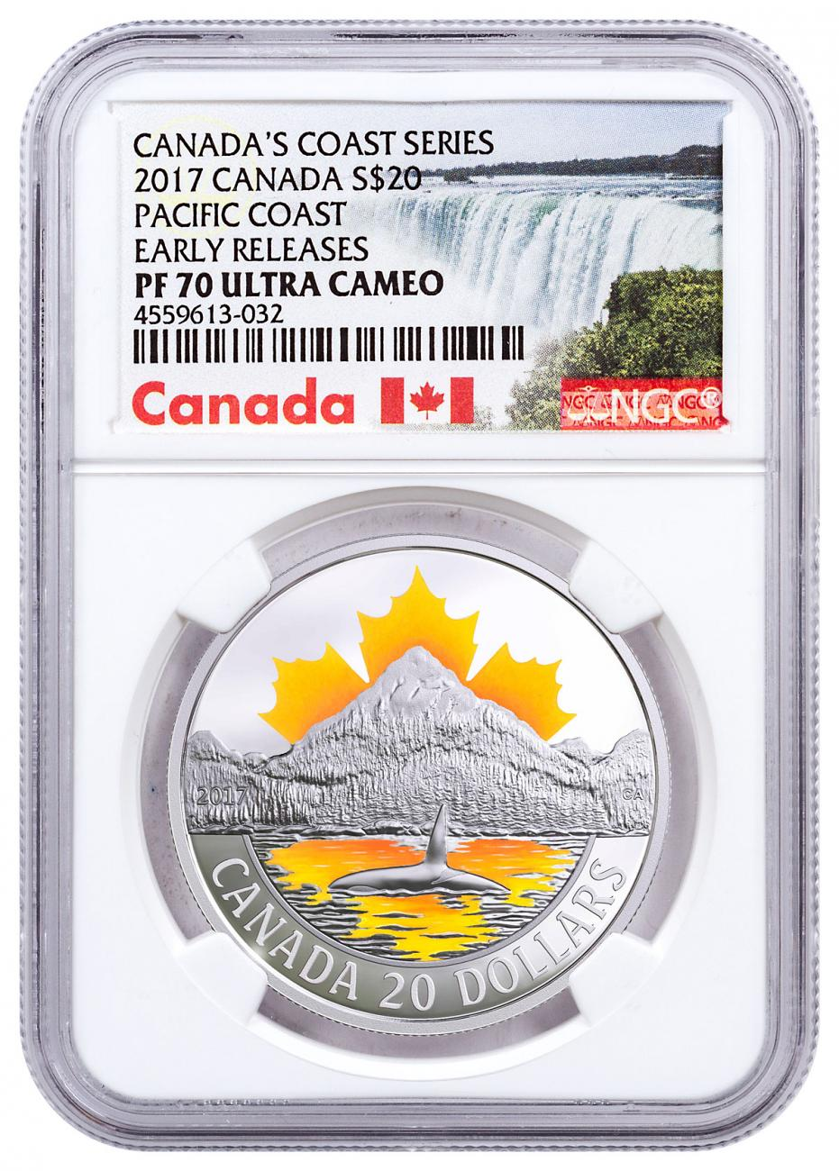 2017 Canada Canada's Coast - Pacific Coast 1 oz Silver Proof $20 Coin NGC PF70 UC ER Exclusive Canada Label