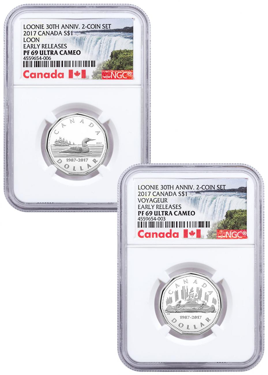 Set of 2 - 2017 Canada Loon 30th Anniversary - 1/4 oz Silver Proof $1 Coins NGC PF69 UC ER Exclusive Canada Label