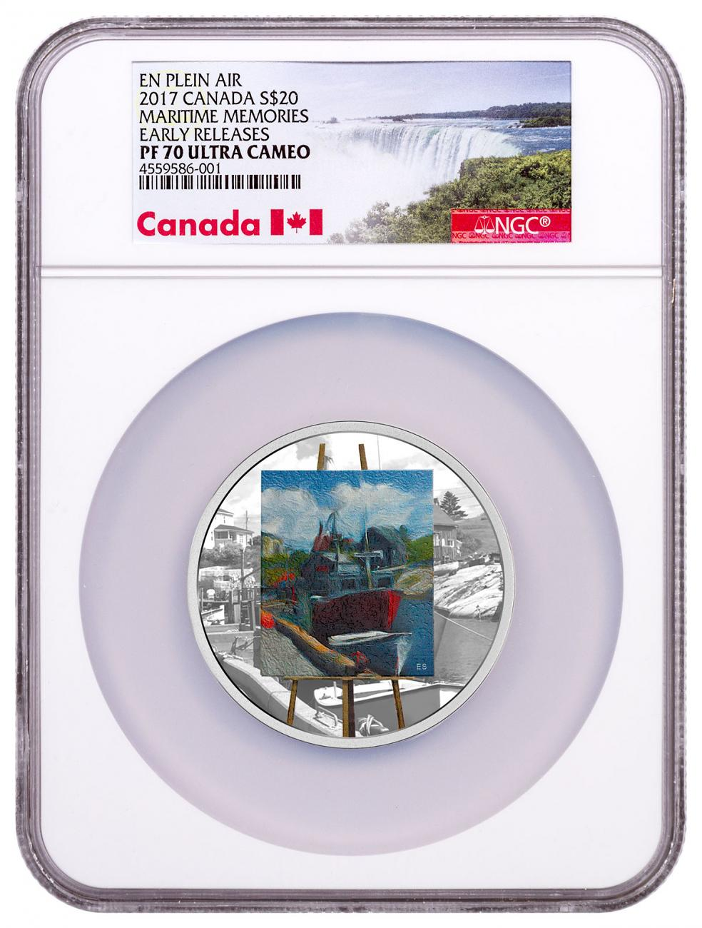 2017 Canada En Plein Air - Maritime Memories 1 oz Silver Colorized Proof $20 Coin NGC PF70 UC ER Exclusive Canada Label