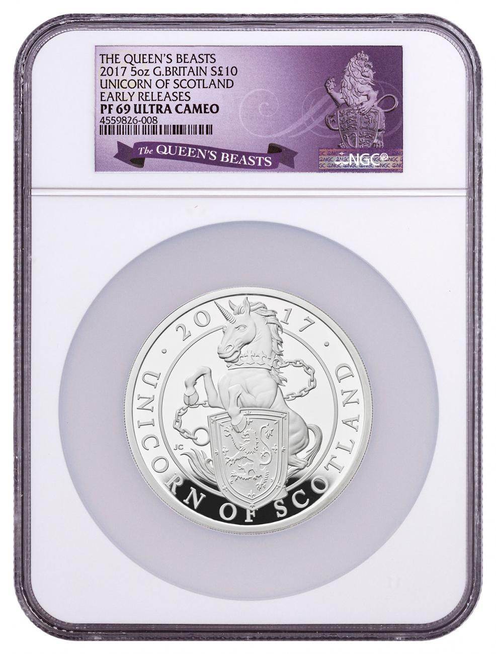 2017 Great Britain 5 oz Silver Queen's Beasts - Unicorn of Scotland Proof £10 Coin NGC PF69 UC ER Exclusive Queen