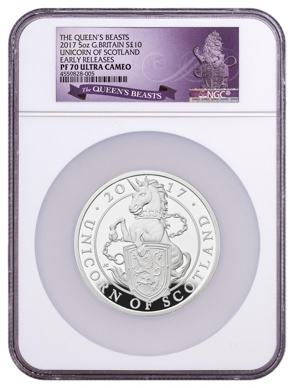 2017 Great Britain 5 oz Silver Queen's Beasts - Unicorn of Scotland Proof £10 Coin NGC PF70 UC ER Exclusive Queen