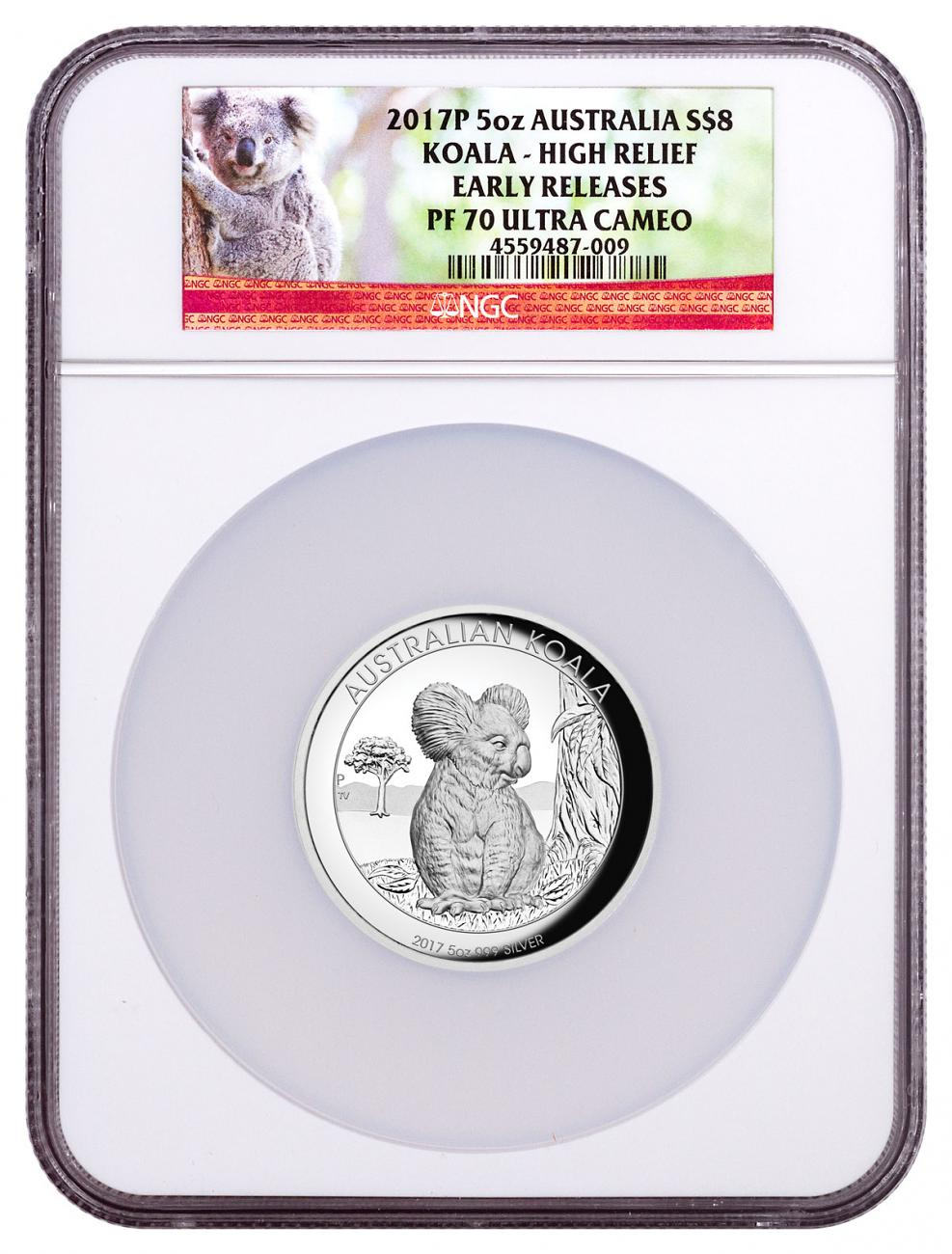 2017-P Australia 5 oz High Relief Silver Koala - Proof $8 Coin NGC PF70 UC ER