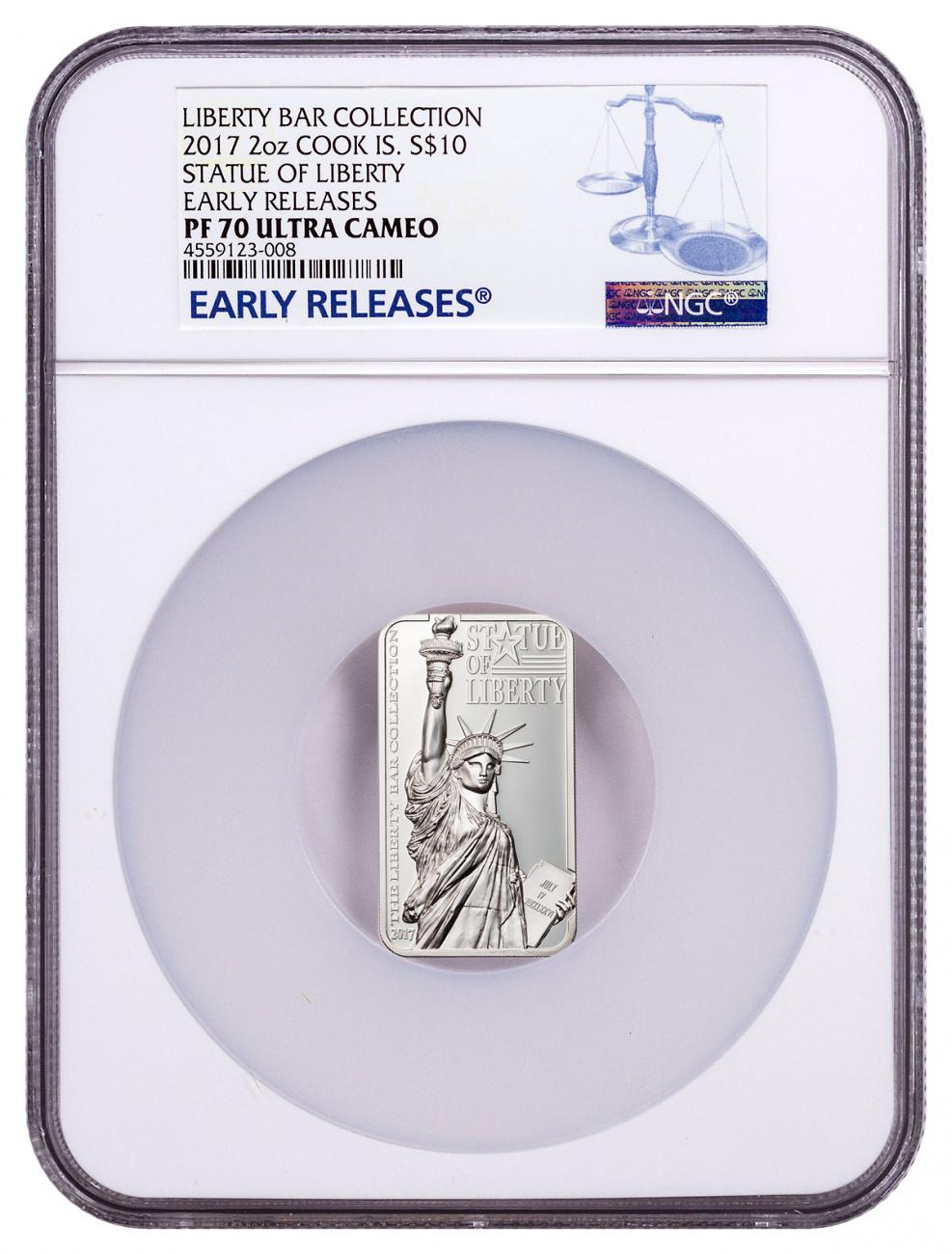 2017 Cook Islands Liberty Bar - Statue of Liberty High Relief Rectangle Silver Proof $10 Coin NGC PF70 UC ER