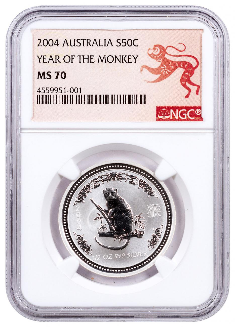 2004 Australia Year of the Monkey 1/2 oz Silver Lunar (Series 1) 50c Coin NGC MS70 Monkey Label