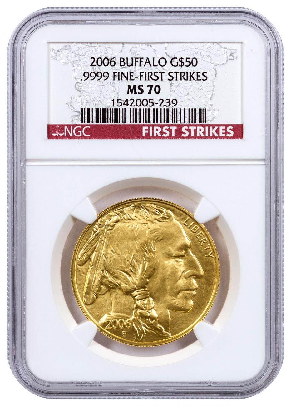 2006 1 oz Gold Buffalo $50 Coin NGC MS70 FS