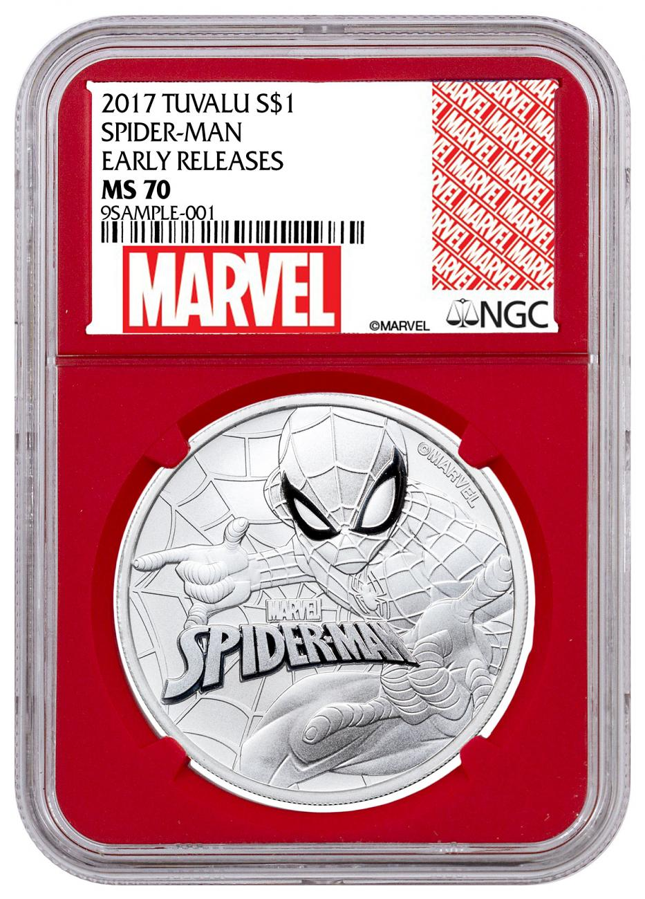 2017 Tuvalu Spider-Man 1 oz Silver Marvel Series $1 Coin NGC MS70 ER Red Core Holder Exclusive Marvel Label