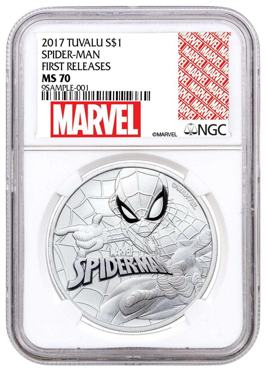 2017 Tuvalu Spider-Man 1 oz Silver Marvel Series $1 Coin NGC MS70 FR Exclusive Marvel Label