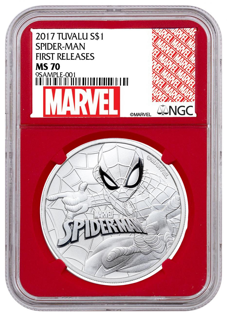 2017 Tuvalu Spider-Man 1 oz Silver Marvel Series $1 Coin NGC MS70 FR Red Core Holder Exclusive Marvel Label