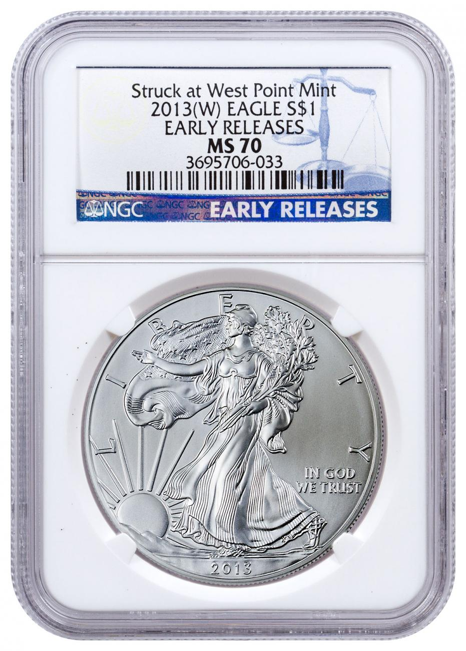 2013-(W) Silver Eagle Struck at West Point NGC MS70 ER