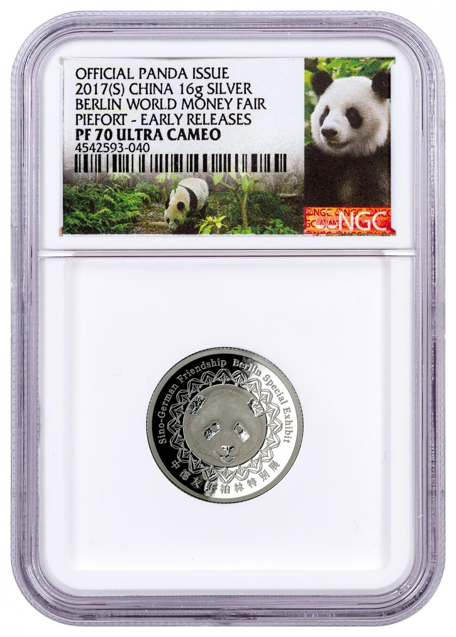 2017-(S) China Berlin World Money Fair 16 g Silver Show Panda Piedfort Proof Medal NGC PF70 UC ER Exclusive Panda Label
