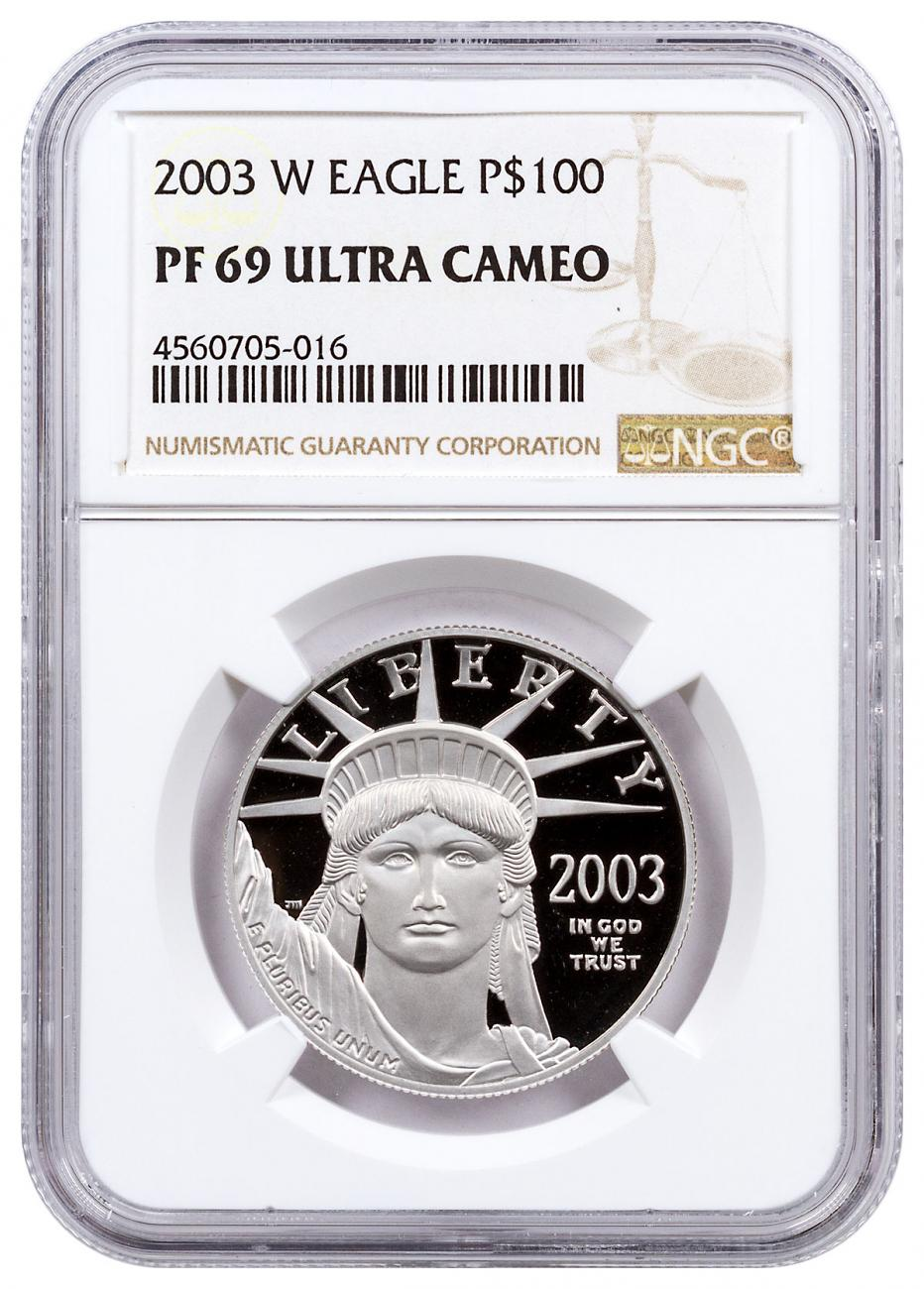 2003-W 1 oz Platinum American Eagle Proof $100 NGC PF69 UC