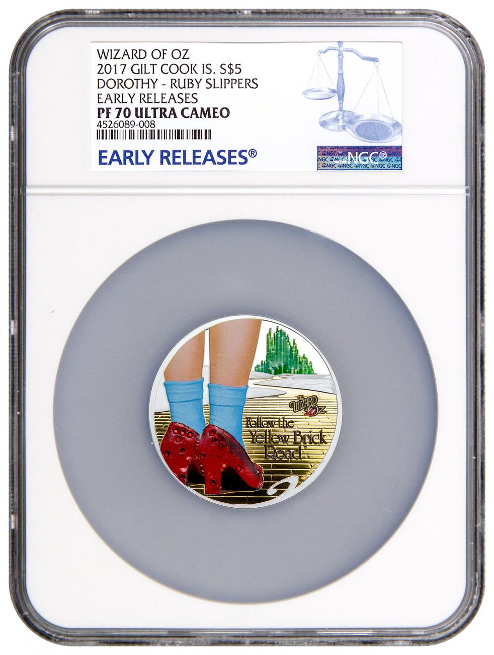 2017 Cook Islands Wizard of Oz - Yellow Brick Road High Relief 1 oz Silver Colorized Gilt Proof $5 Coin NGC PF70 UC ER
