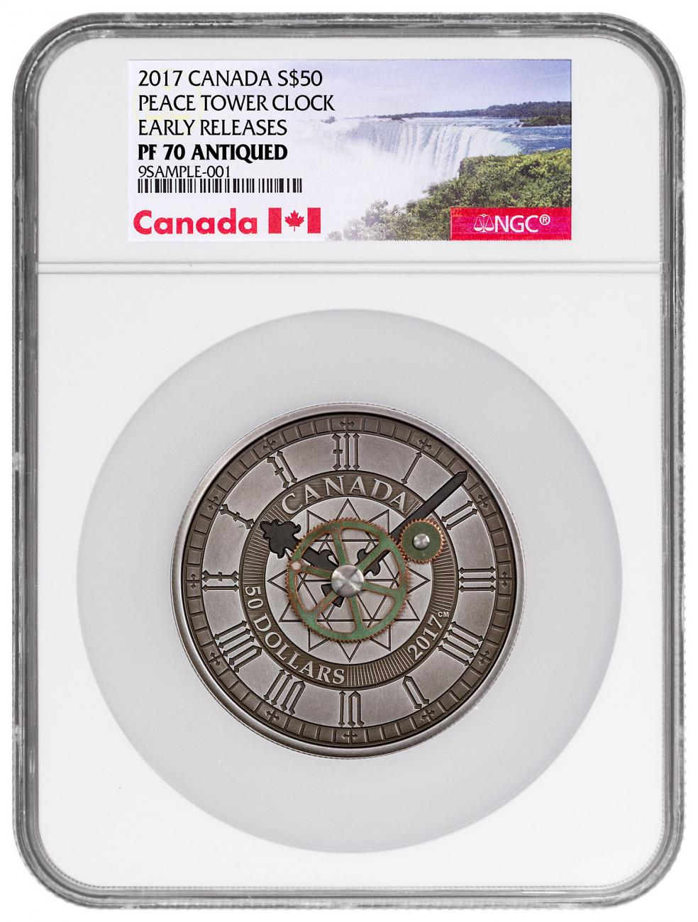 2017 Canada Peace Tower Clock 90th Anniversary - 5 oz Silver Antiqued $50 Coin NGC PF70 ER