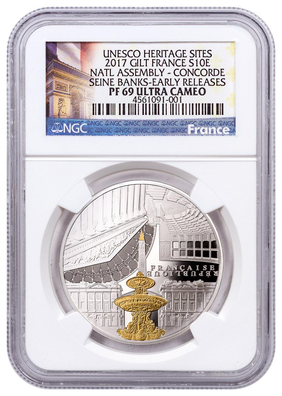 2017 France UNESCO World Heritage Site - Banks of the Seine: National Assembly and Concorde Silver Gilt Proof €10 Coin NGC PF69 UC ER Exclusive France Label