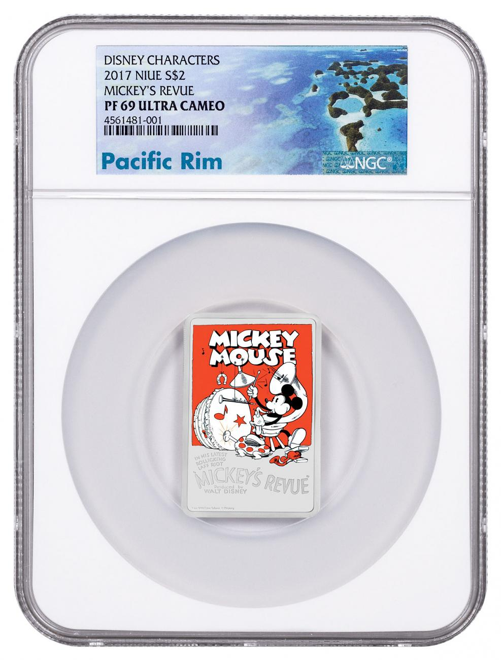 2017 Niue Disney Posters of the 1930s - Mickey's Revue Rectangle 1 oz Silver Colorized Proof $2 Coin NGC PF69 UC Exclusive Pacific Rim Label