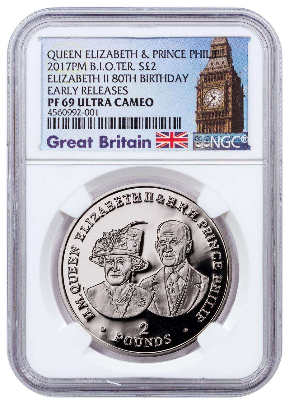 2017 British Indian Ocean Territory 70 Years of Queen Elizabeth II and Prince Phillip - 80th Birthday Silver Proof £2 Coin NGC PF69 UC ER Exclusive Big Ben Label