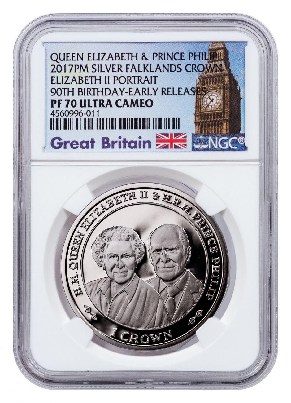 2017 Falkland Islands 70 Years of Queen Elizabeth II & Prince Phillip - 90th Birthday 1 oz Silver Proof £2 Coin NGC PF70 UC ER Exclusive Big Ben Label