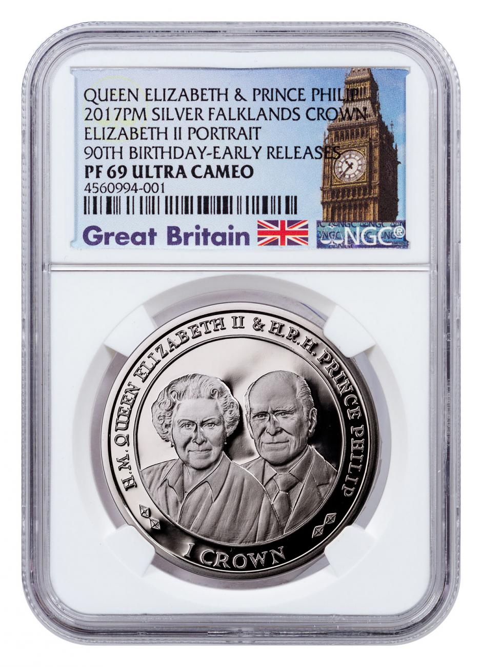 2017 Falkland Islands 70 Years of Queen Elizabeth II & Prince Phillip - 90th Birthday 1 oz Silver Proof £2 Coin NGC PF69 UC ER Exclusive Big Ben Label