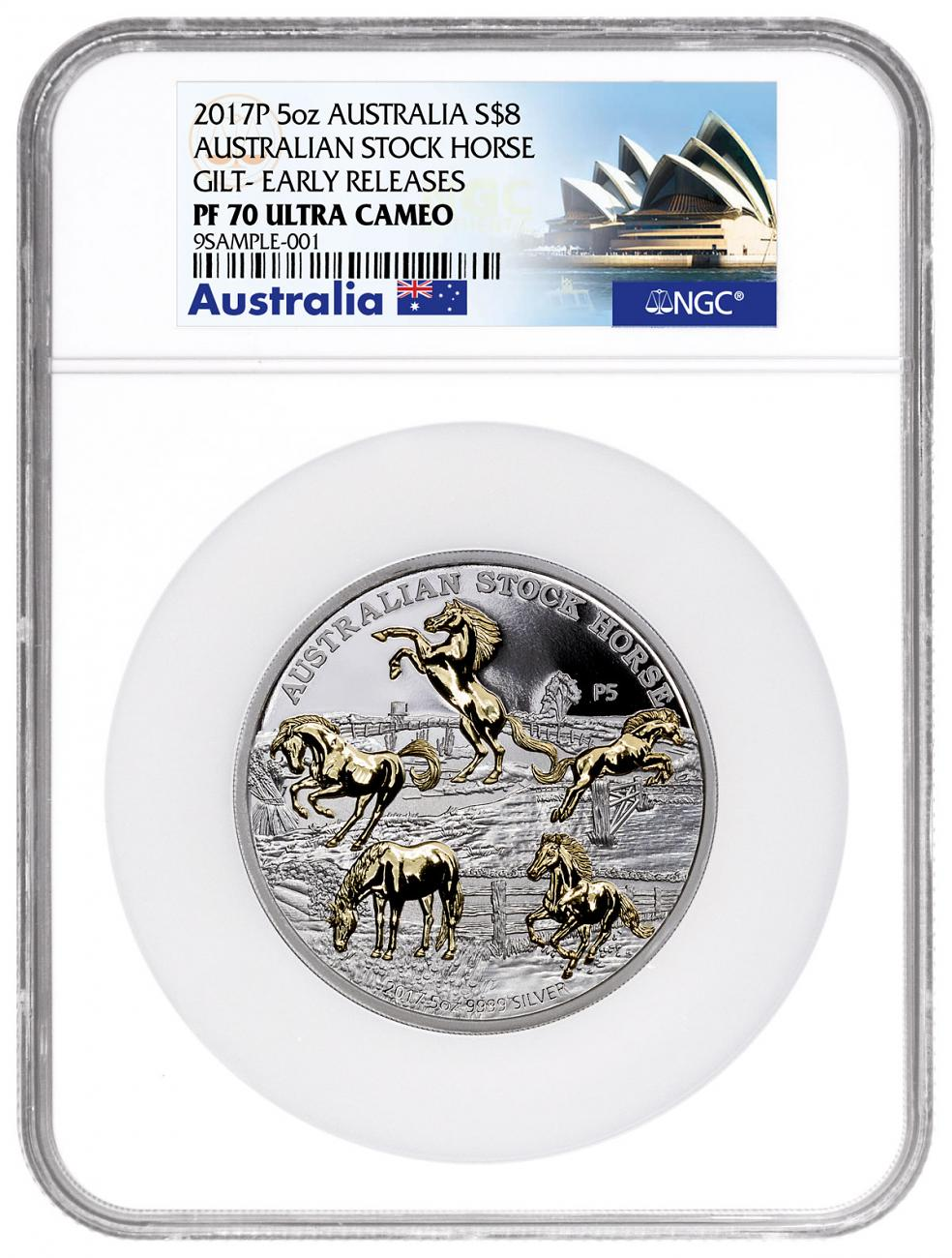 2017-P Australia Stock Horse - P5 Privy 5 oz Silver Gilt Proof $8 Coin NGC PF70 UC ER Exclusive Australia Label
