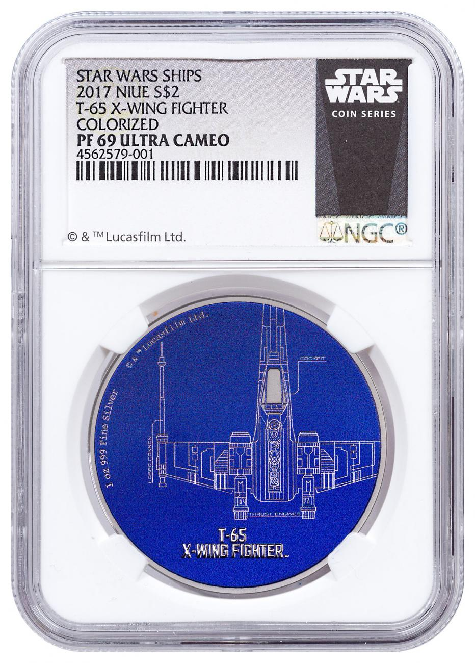 2017 Niue Star Wars Ships - T-65 X-Wing Fighter 1 oz Silver Colorized Proof $2 Coin NGC PF69 UC Exclusive Star Wars Label