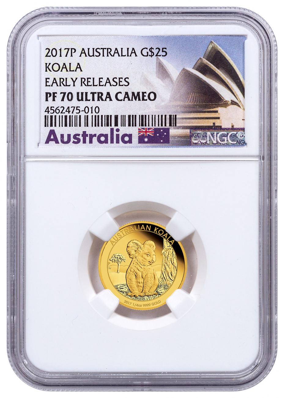 2017-P Australia 1/4 oz Gold Koala - Proof $25 Coin NGC PF70 UC ER Exclusive Australia Label